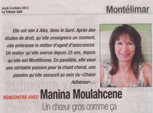 Manina La Tribune Octobre 2012